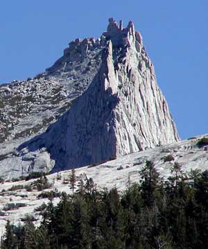 Cathedral Peak in Yosemite, view from the west. Wikimedia Commons photo by Stan Shebs